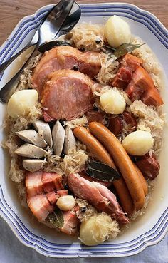 CHOUCROUTE GARNIE ~~~ this is a dish of sauerkraut and charcuterie and (sometimes) potatoes. recipe gateway: this post's link AND pepin's recipe at http://www.foodandwine.com/recipes/choucroute-garnie AND http://norecipes.com/choucroute-garnie-recipe/ AND http://www.epicurious.com/recipes/food/views/Choucroute-Garnie-102386 [France, Alsace] [Jacques Pepin] [foodandwine] [Marc Matsumoto] [norecipes] [bonappetit] [epicurious] [gourmettraveller]