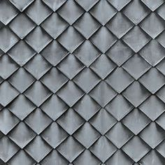 Zinc Roofing Tiles - Textures.com is a website that offers digital pictures of all sorts of materials. We have pictures of fabrics, wood, metal, bricks, plastic, and many more. These images are called textures and can be used for graphic design, visual effects, in computer games and any other situation where you need a nice pattern or background image. Zinc Roof, Metal Roof, Cladding Materials, Modern Courtyard, Brick Architecture, Roof Tiles, Tiles Texture, House Roof, Paper Models