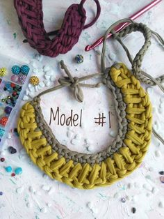 Tshirt yarn crochet statement necklace Chunky textile chocker necklace made of recycled yarn Trapillo yarn crochet collar Fiber necklace Yarn Necklace, Knitted Necklace, Chocker Necklace, Crochet Earrings, Collar Necklace, Crochet Chocker, Bead Earrings, Chunky Crochet, Crochet Yarn