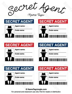 Free printable secret agent name tags. These would be great for a spy or secret agent party theme. Download the PDF at http://nametagjungle.com/name-tag/secret-agent/
