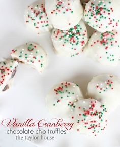 Christmas Cookies, Truffle Recipes, Vanilla Cranberry Truffles, Rodelle, Christmas Cookie Series