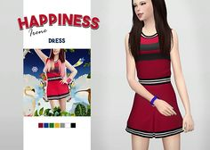 Happiness Irene Dress • New meshes / EA mesh edits • Category: dress (women) • Age: teen / young adult / adult / elder • 7 swatches • Suggested by anonymous Download: SimFileShare