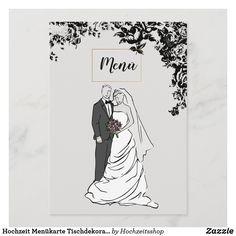 Hochzeit Menükarte Tischdekoration Paar Illustration, Couple Illustration, Wedding Couples, Wedding Illustration, Newlyweds, Decorations