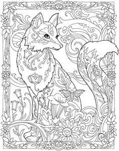 Doverpublications Zb Samples 806197 Coloring Book PagesFox