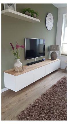 Living Room Tv Unit, Home Living Room, Apartment Living, Tv On Wall Ideas Living Room, Oak Living Room Furniture, Wall Cabinets Living Room, Living Tv, Tv Furniture, Living Room Inspiration