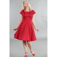 Abito rosso con bolerino abbinato, dalla linea pulita ed elegante perfetto per una cerimonia o un evento formale.