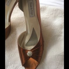 Copper satin shoes rhinestone Beautiful great condition worn once. Touch ups Shoes