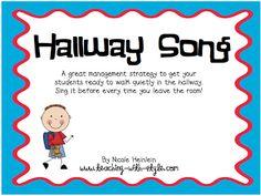 """FREE MISC. LESSON - """"Hallway Song"""" - Go to The Best of Teacher Entrepreneurs for this and hundreds of free lessons.  #FreeLesson   #TeachersPayTeachers   #TPT   http://thebestofteacherentrepreneurs.blogspot.com/2012/10/free-misc-lesson-hallway-song.html"""