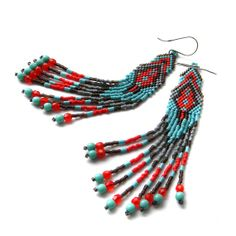 Ethnic style seed bead earrings   sterling silver by Anabel27shop, $30.00