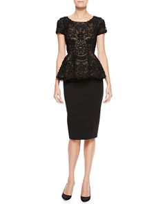 Oscar de la Renta Short-Sleeve Passementerie Peplum Top & High-Waist Pencil Skirt