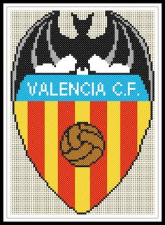 """Gráfico para punto de cruz del """"Escudo del Valencia Club de Fútbol""""."""