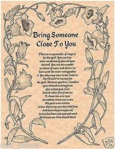 Bring Someone Close to You Spell - Real Witchcraft Spell Book of Shadows Page BOS Pages Witch Spell Book, Witchcraft Spell Books, Magick Spells, Wicca Witchcraft, Witchcraft Spells For Beginners, Real Witches, Wiccan Witch, Witch Spells Real, Real Magic Spells