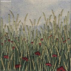 Poppies in the Field hand embroidery on painted background by Jo Butcher