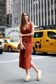 Street style terracotta, dress, outfit, looks, terracota, tijolo, castanho…