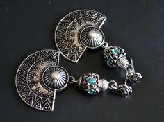 Boho Earrings Tribal Earrings Crystal Blue Crystal by LKArtChic