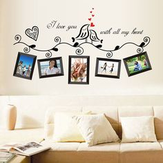 Lovely Family Tree Birds Photo Frame Quotes Wall Stickers Art Decals Home Decor