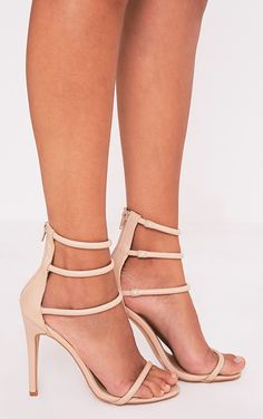 Nude Strappy Heeled Sandals Add these barely there, strappy heels to any outfit for instant eleg...