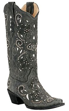 Corral® Ladies Distressed Black Crater w/White Inlay & Studs Snip Toe Western Boots | Cavender's Boot City