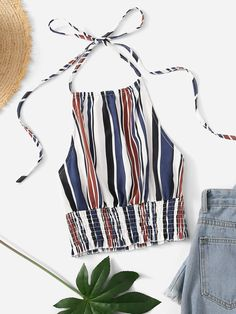 Shop Striped Print Frill Hem Halter Top at ROMWE, discover more fashion styles online. Girls Summer Outfits, Chill Outfits, Summer Fashion Outfits, Urban Outfits, Cute Casual Outfits, Satin Crop Top, Wedding Gowns With Sleeves, Stylish Tops, Fashion 101