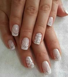 This is a very nice Trendy Nail Arts Design in nude or pastel colors with rhinestone or diamond or glitters , It gives sophisticated and luxurious looks in your nails. Its just enough glitz to have a stylish yet not overbearing nail art design. Elegant Nail Designs, Best Nail Art Designs, Beautiful Nail Designs, Fabulous Nails, Perfect Nails, Luxury Nails, French Tip Nails, Rhinestone Nails, Cool Nail Art