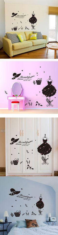 55c707176ba Lady Dress Designed Craft Bedroom Kitchen Home Decor Wall Wardrobe Sticker   3.32 Ev Elişleri