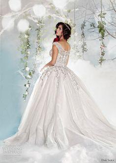 dar sara wedding dresses 2014 off shoulder straps ball gown back view train
