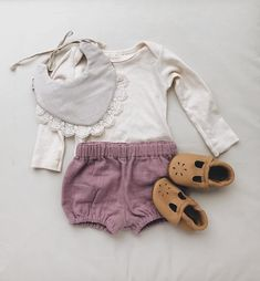 baby girl outfit for summer. bloomers, Billy Bib, Starry knight moccs, plain organic tee.
