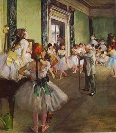 """EDGAR DEGAS (1834-1917) DANZATRICI IN BLU;LA SCUOLA DI DANZA  Inquadrature audaci,scorci inusuali e una tavolozza colorata e brillante;l'impalpabile tulle dei""""tutù"""",  il nervosismo dell'entrata in scena e la stanchezza nel camerino quando cala il sipario.  Questo è il mondo dell'opera, delle lezioni di danza, delle rappresentazioni, un mondo esplorato da Degas,studiato fino nei particolari più intimi e meno appariscenti. #art #Degas #history #canvas #oil"""