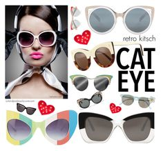 """cat eye"" by cutandpaste ❤ liked on Polyvore featuring moda, Erdem, Jeremy Scott, Cutler and Gross, Illesteva, Xhilaration, Dolce&Gabbana, Prada y Christian Dior"