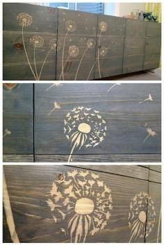 use wood glue and a stencil to block the stain !