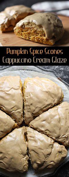 Pumpkin Spice Scones w/ Cappuccino Cream Glaze Just Desserts, Delicious Desserts, Yummy Food, Pumpkin Recipes, Fall Recipes, Savory Scones, Lemon Scones, Pumpkin Dessert, Baking Recipes