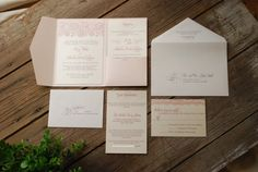 Lace Wedding Invitation - Pink and Ivory with Inserts and Pocket Folder