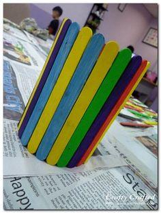 Rainbow craft stick stationery holder