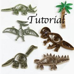 DIY - Make your own paper quilled dinosaurs! This .pdf tutorial has all the instructions you need to make FIVE different dinosaurs and a palm tree. An Apatosaurus (Brontosaurus), Tyrannosaurus Rex, Triceratops, Pteranodon, and Stegosaurus. Use these dinosaurs to decorate a frame, gift bags, greeting cards, and more! They also make perfect scrapbook embellishments! This listing is for a .pdf file only, not the items, not a kit! This .pdf pattern includes a cover page and thirteen pages of…