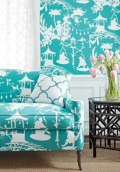 Thibaut chinoiserie inspired wallpaper and sofa upholstery in South Sea fabric Detail view Chinoiserie Fabric, Chinoiserie Wallpaper, Fabric Wallpaper, Of Wallpaper, Designer Wallpaper, Wallpaper Ideas, Coastal Wallpaper, Turquoise Wallpaper, Matching Wallpaper