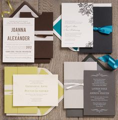 Coordinating wedding invitation suites... ooh those grays are pretty