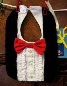 Adorable Infant Boy Handmade Tuxedo Bib with by Madewithflaws,