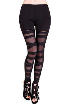 Black Mesh Bondage Leggings - mid rise, full ankle length, elastic waist, and plenty of stretch for a great fit. Mesh front panels with
