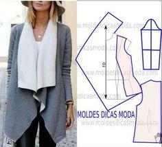 Passo a passo de molde de casaco com gola. No blogue existem bases largas, semi-largas e justas em diversos tamanhos.