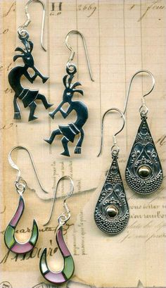 Earrings 3 Pair~Southwest Kokopelli~Inlay Shell~Silver Drops STERLING ALL