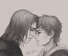 """"""" - Story from the same Snarry fan-fiction (sorry guys, the story is in Chinese, for now) Happy Birthday to Professor Snape! (Wonder what Harry will give him. Harry Potter Fan Art, Harry Potter Severus Snape, Harry Potter Ships, Harry Potter Fandom, Harry And Hermione Fanfiction, Hp Fanfiction, Otp, Shadow Of The Colossus, Wattpad"""
