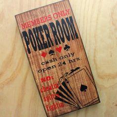 Painted wood art  Poker room  Game room decor by WoodpaintedStudio, $60.00