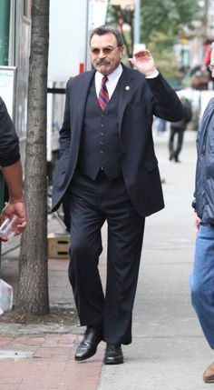 """Tom Selleck seen filming a scene at the """"Blue Bloods"""" set in Brooklyn Tom Selleck Blue Bloods, Blue Bloods Tv Show, Jesse Stone, Cop Show, Denim Outfit, Movie Tv, Hot Guys, Brooklyn, Toms"""