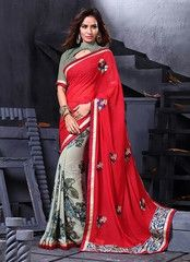 Red Color Georgette Party Wear Sarees : Nishani Collection YF-38204