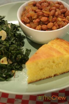 Bring the south to your house with this Spicy Southern Greens & Beans with Cornbread dish!