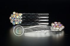 Iridescent Crystal Cluster Mini Wedding Hair Comb Set