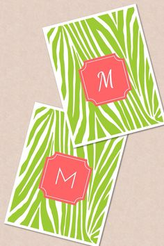 Chartreuse and coral Zebra Initial Monogram iPhone Wallpaper Lime by CustomDesignsbyEJ, $2.00