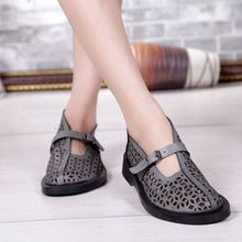 Fashion vintage handmade genuine leather women's shoes low cutout sandals thickness low-heeled comfortable casual shoes mother(China (Mainland))