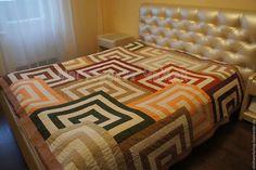 Текстиль, ковры ручной работы. Ярмарка Мастеров - ручная работа. Купить Покрывало Гипноквадраты. Handmade. Покрывало пэчворк, покрывало на кровать