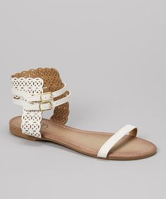 Love this Carrini White Laser Cut Flat Sandal by Carrini on #zulily! #zulilyfinds